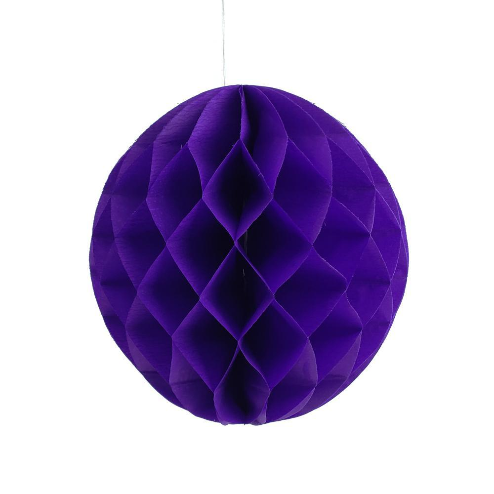 Round Paper Honeycomb Ball, 9-3/4-Inch, Purple
