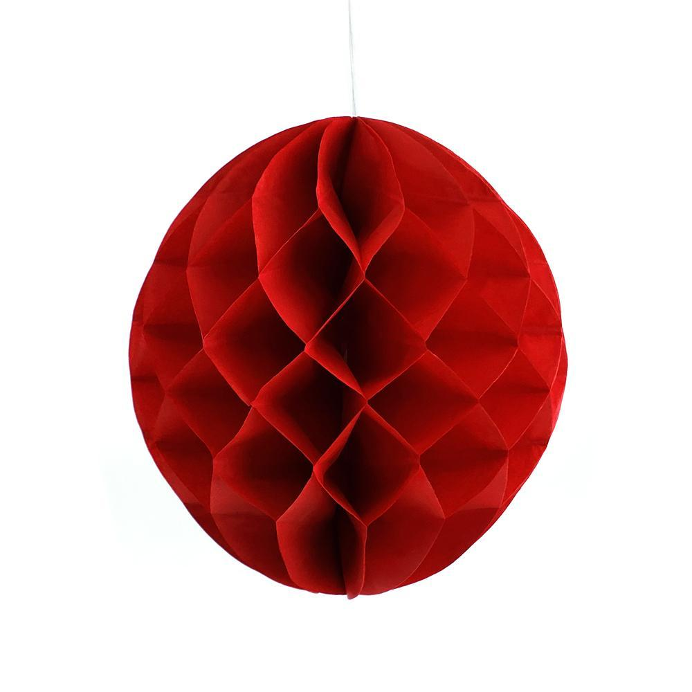 Round Paper Honeycomb Ball, 9-3/4-Inch, Red