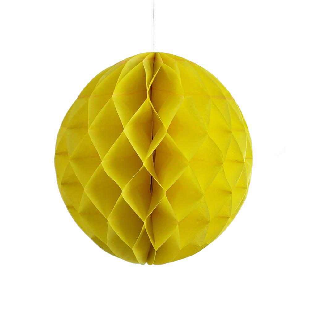 Round Paper Honeycomb Ball, 9-3/4-Inch, Yellow