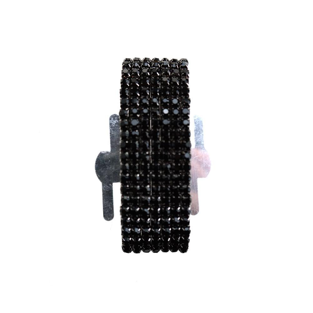 Corsage Wristlet with Rhinestone Band, Black, 1-Inch