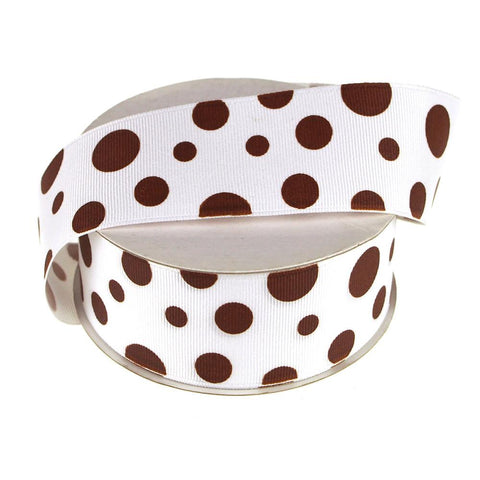 White Grosgrain Polka Dot Ribbon, 1-1/2-Inch, 25 Yards, Brown