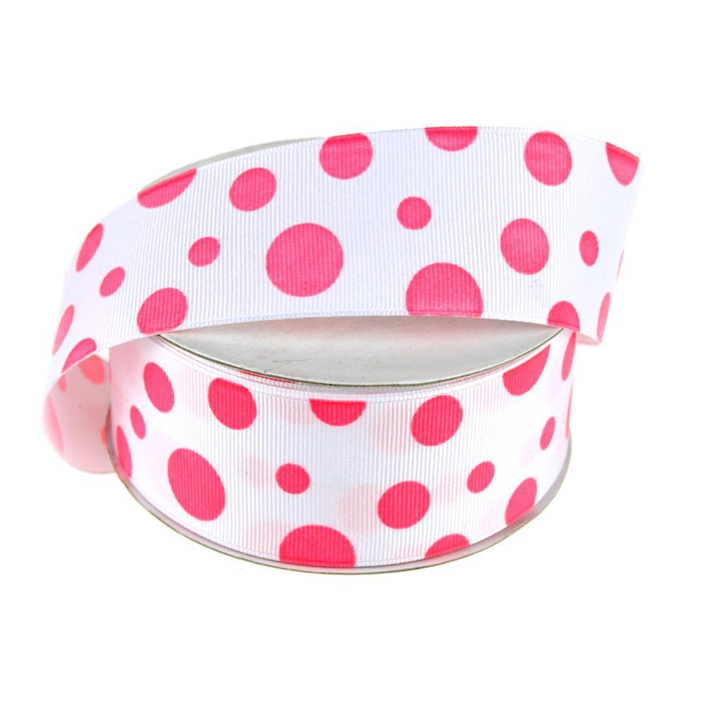 White Grosgrain Polka Dot Ribbon, 1-1/2-Inch, 25 Yards, Hot Pink
