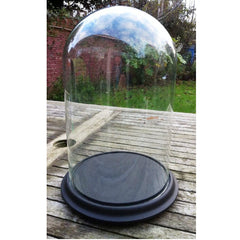 Clear Glass Large Dome Display with Ceramic Base
