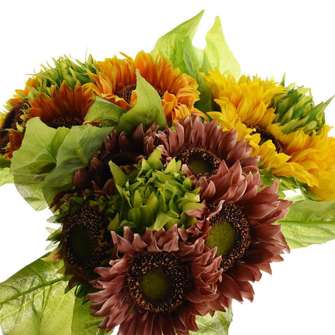 Artificial Sunflower Bouquet, 15-Inch
