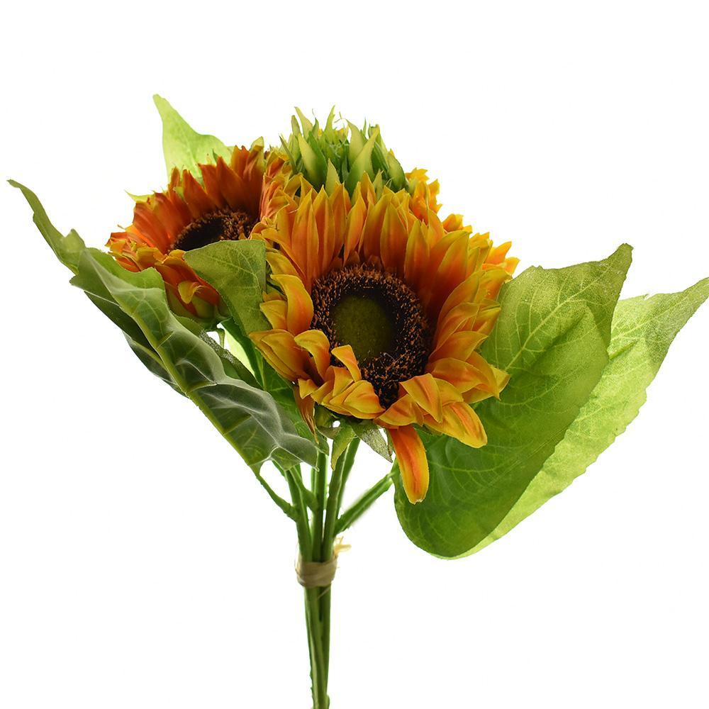 Artificial Sunflower Bouquet, Orange, 15-Inch