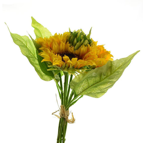 Artificial Sunflower Bouquet, Yellow, 15-Inch