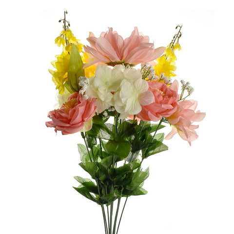 Artificial Dahlia Ranunculus Spray, Coral/Yellow/Cream, 22-Inch