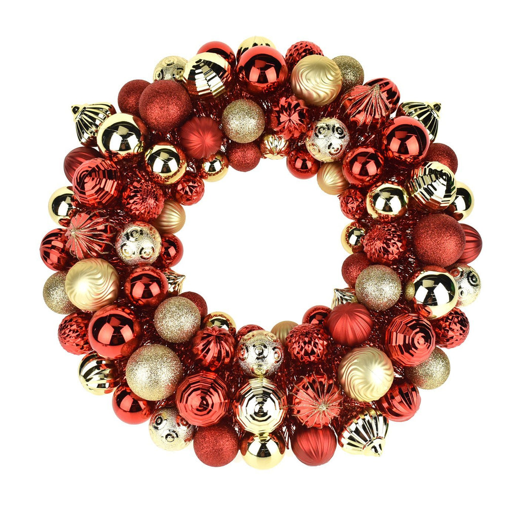 Metallic Christmas Ornament Wreath, Red/Gold, 20-Inch