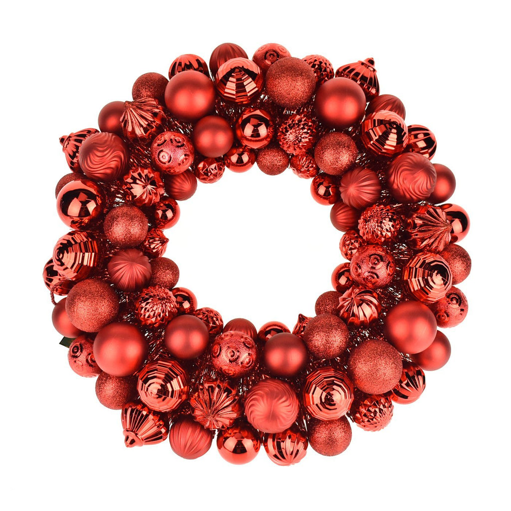 Metallic Christmas Ornament Wreath, Red, 20-Inch