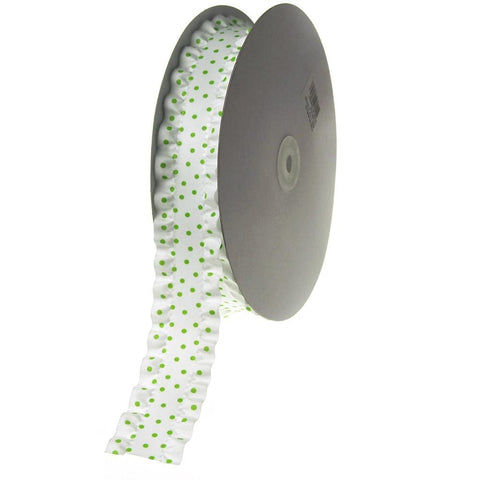 Ruffled Satin Polka Dot Ribbon, 1-1/2-inch, 25-yard, Apple Green