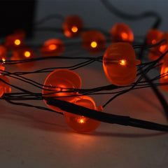 LED Battery Operated Pumpkin String Lights, Orange, 80-Inch