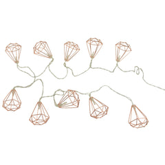 10 LED 3D Diamond Outline Warm White String Lights, Rose Gold, 2-Inch, 5-1/2-Feet