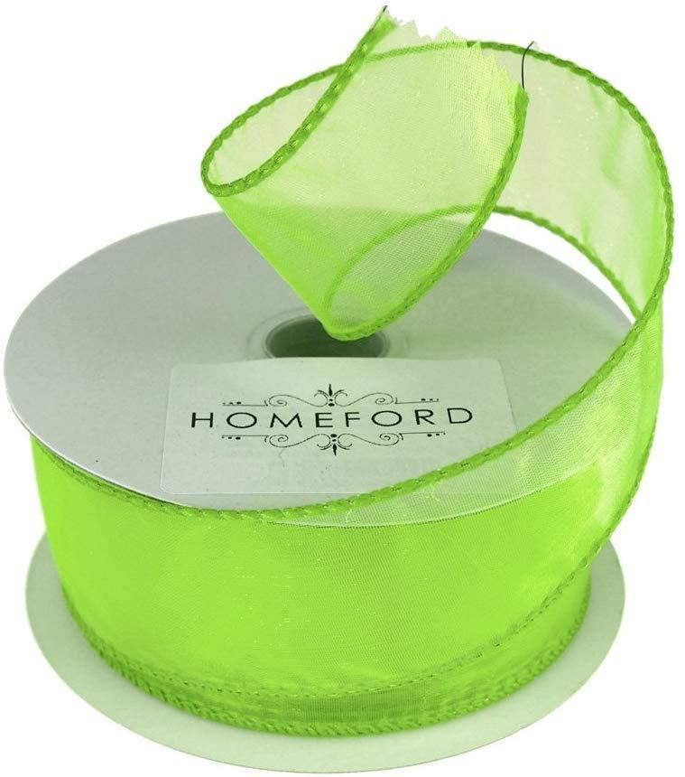 Sheer Organza Wired Edge Ribbon, 1-1/2-Inch, 10 Yards, Apple Green
