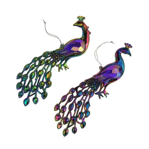 Acrylic Iridescent Peacock Christmas Tree Ornaments, 8-Inch, 2-Piece