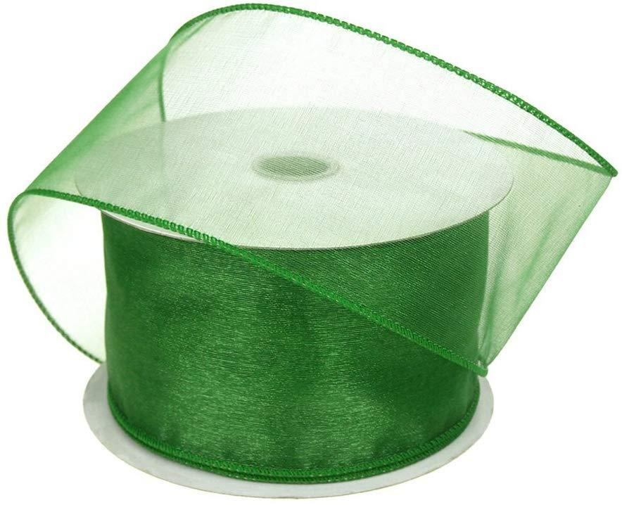 Sheer Chiffon Ribbon Wired Edge, 2-1/2-Inch, 25 Yards, Emerald Green