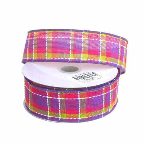 Colorful Dash Plaid Polyester Ribbon Wired Edge, 1-1/2-Inch, 10 Yards, Purple