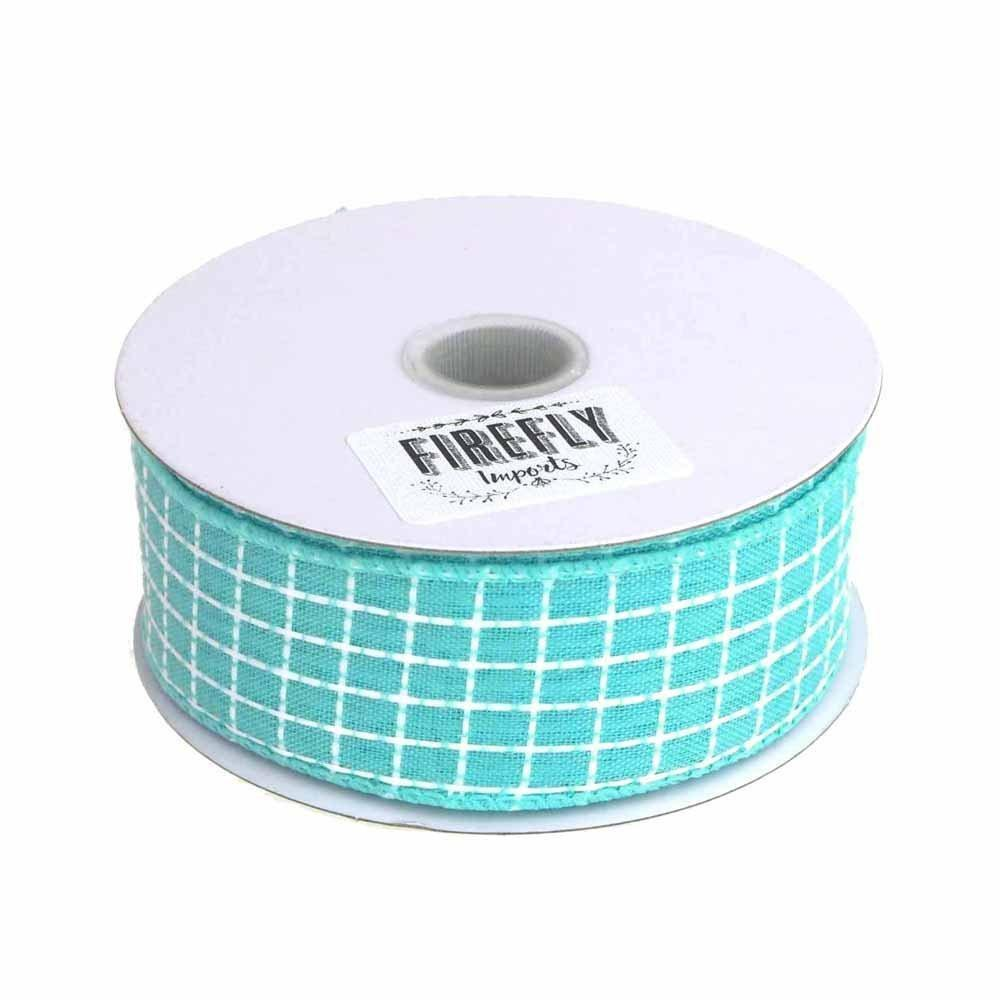 Dash Checkered Ribbon Wired Edge, 1-1/2-Inch, 10-Yard, Aqua – www ...
