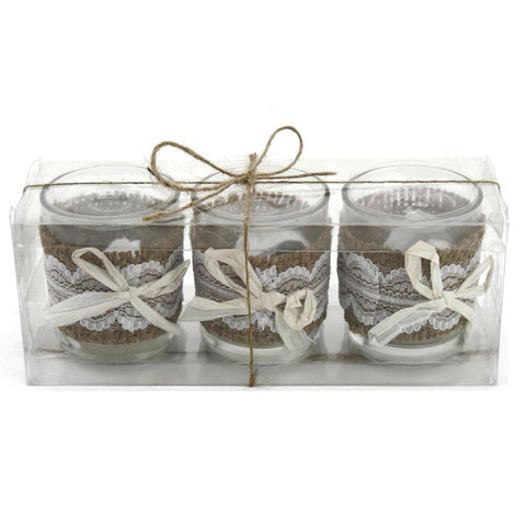 Votive Tealight Holders with Burlap Overlay, 2-1/2-Inch, 3-Piece