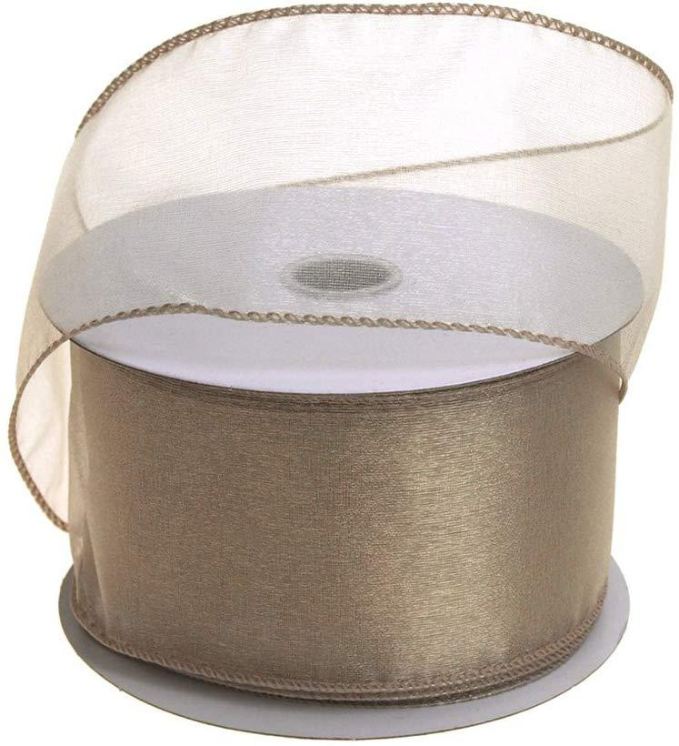 Sheer Chiffon Ribbon Wired Edge, 2-1/2-Inch, 25 Yards, Toffee