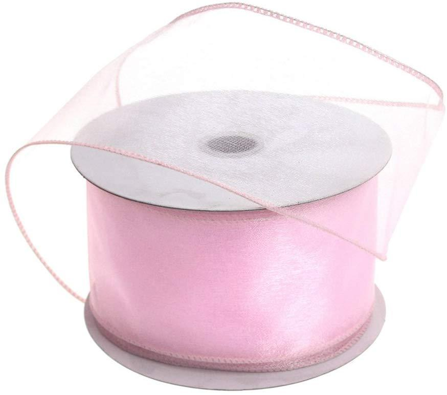 Sheer Chiffon Ribbon Wired Edge, 2-1/2-Inch, 25 Yards, Light Pink