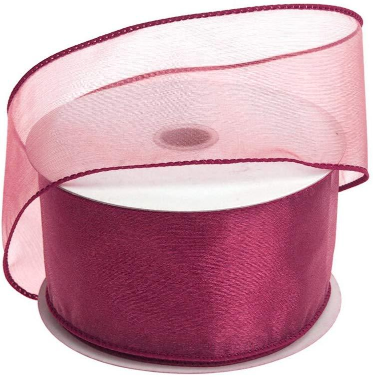 Sheer Chiffon Ribbon Wired Edge, 2-1/2-Inch, 25 Yards, Burgundy