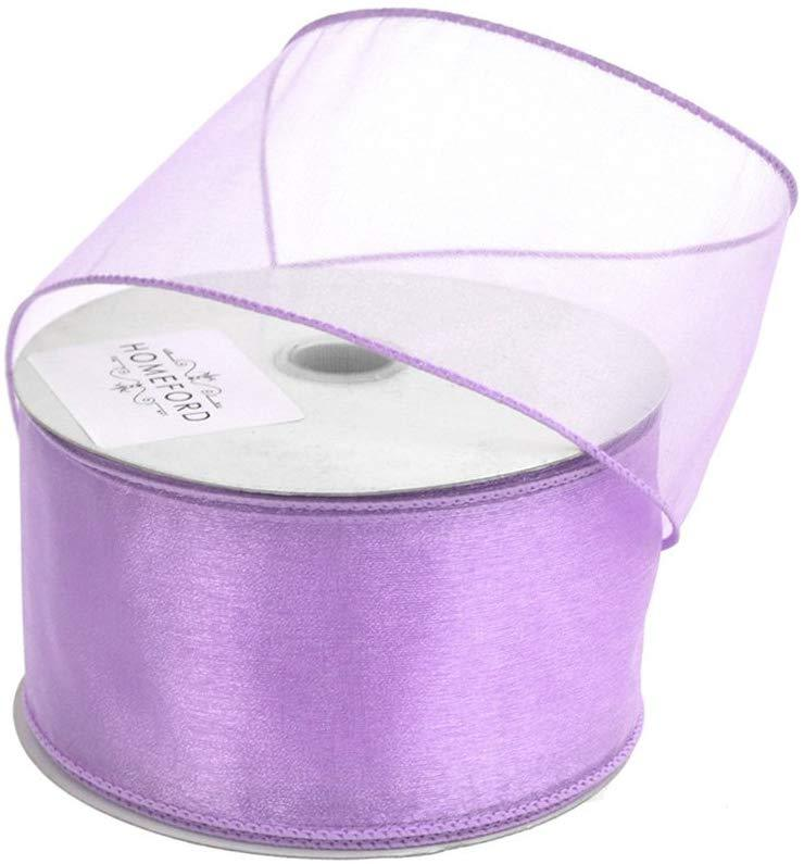 Sheer Chiffon Ribbon Wired Edge, 2-1/2-Inch, 25 Yards, Lavender