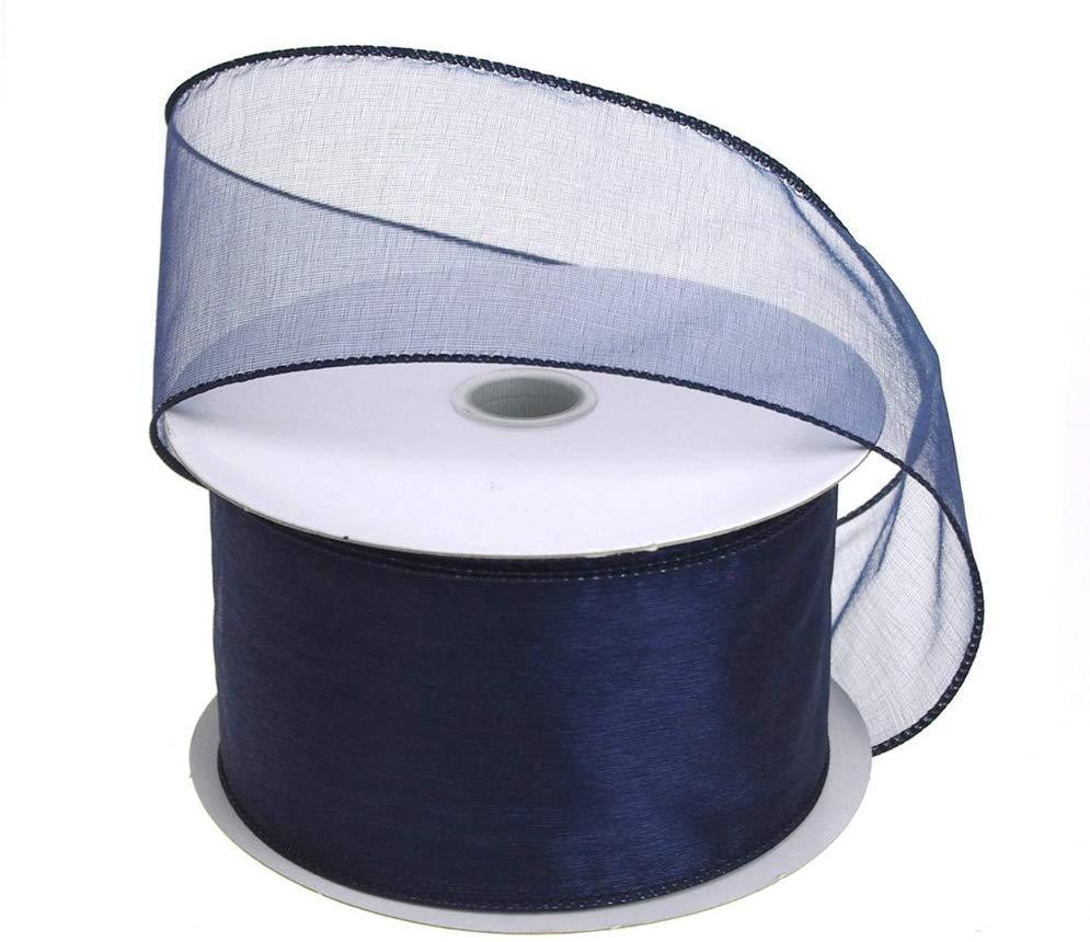 Sheer Chiffon Ribbon Wired Edge, 2-1/2-Inch, 25 Yards, Navy Blue