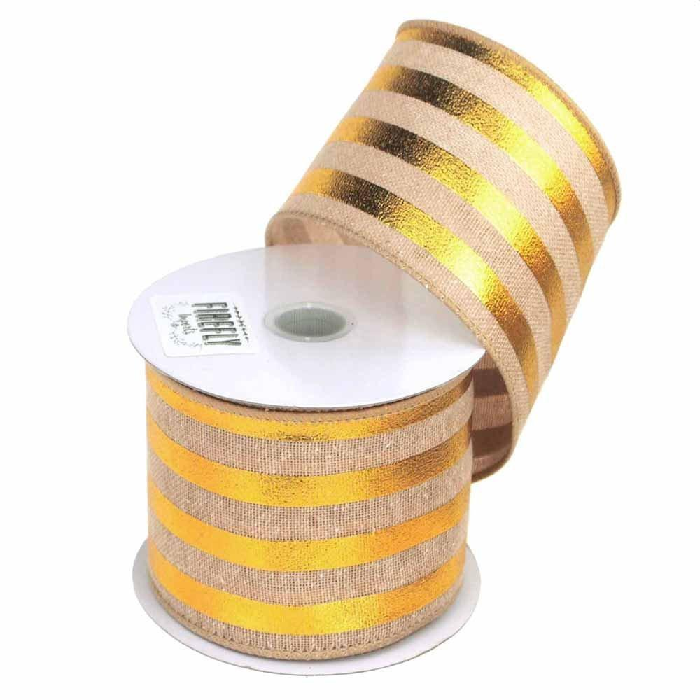Embossed Stripes Soft Canvas Ribbon Wired Edge, 2-1/2-Inch, 10 Yards,  Natural