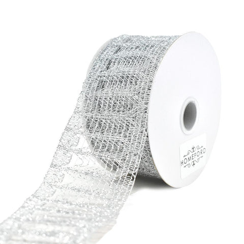 Metallic Glitter Lace Ribbon, 1-1/2-Inch, 3-Yard