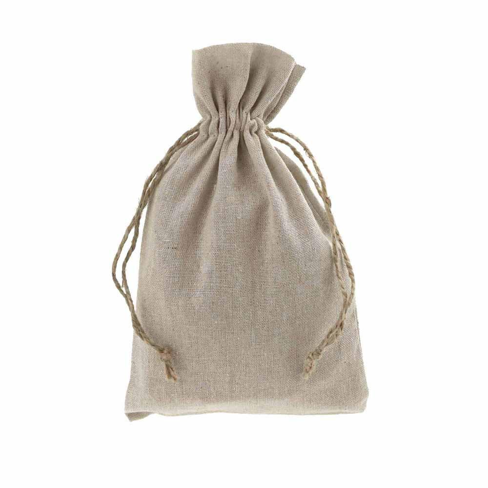 Natural Linen Favor Bags with Jute Drawstring, 6-Inch x 10-Inch, 12-Piece