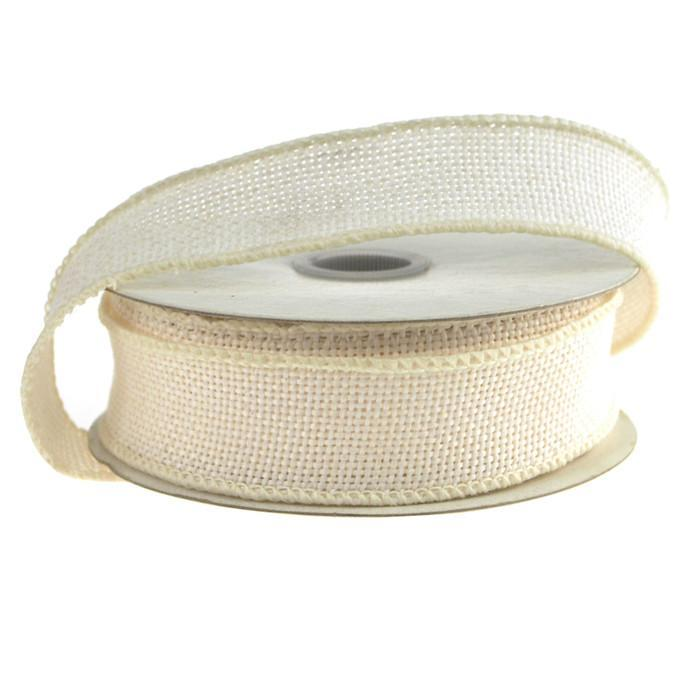 Faux Burlap Wired Edge Ribbon, 7/8-inch, 10-yard, Off White