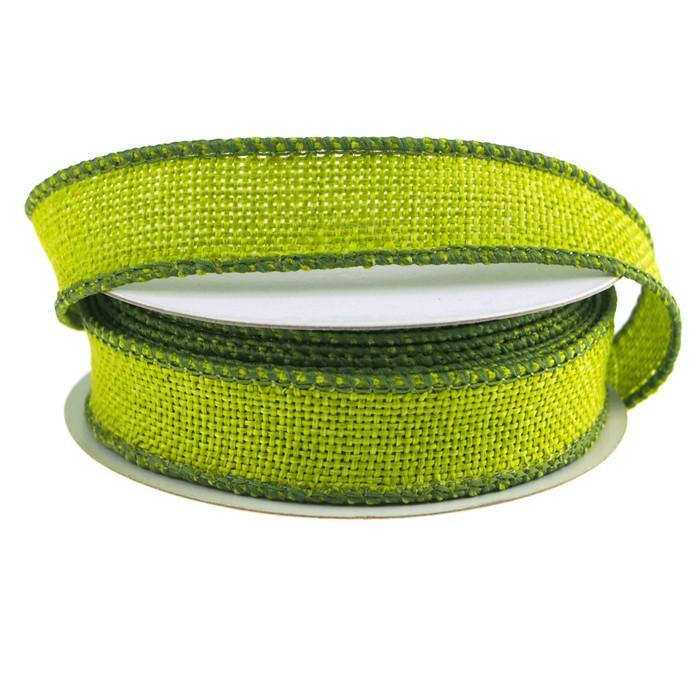 Faux Burlap Wired Edge Ribbon, 7/8-inch, 10-yard, Apple Green