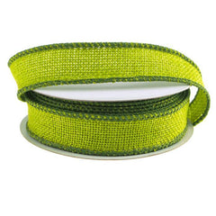 Faux Burlap Wired Edge Ribbon, 7/8-inch, 10-yard