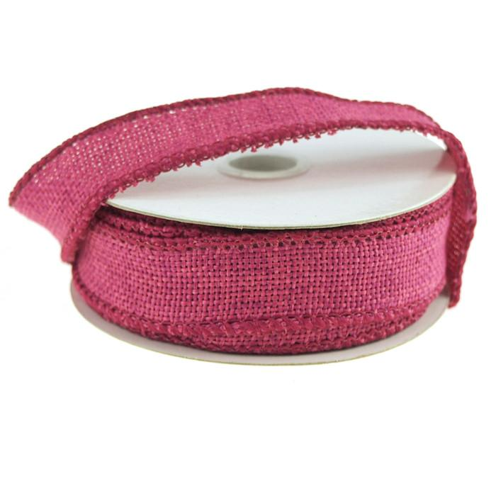 Faux Burlap Wired Edge Ribbon, 7/8-inch, 10-yard, Hot Pink