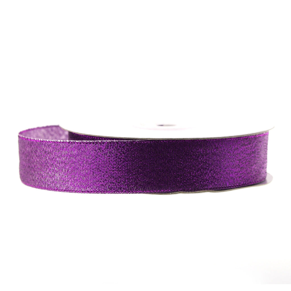 Metallic Taffeta Christmas Ribbon, 7/8-inch, 25-yard, Purple