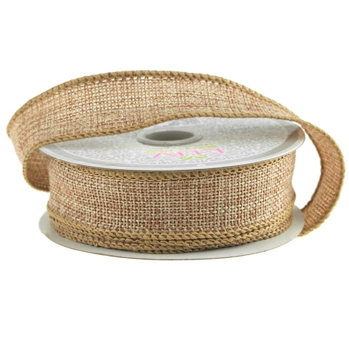 Faux Burlap Wired Edge Ribbon, 7/8-inch, 10-yard, Toffee