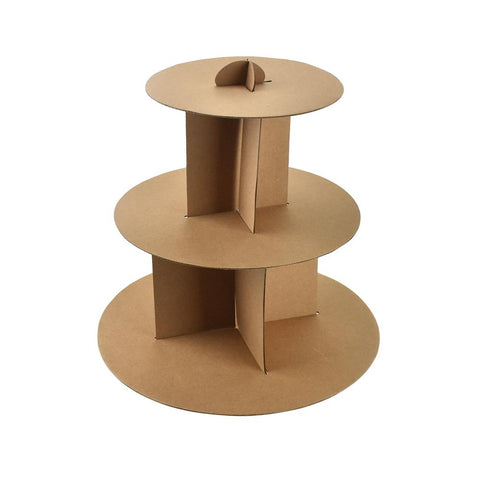 3 Tiered Cardboard Cupcake Stand, Natural, 12-Inch