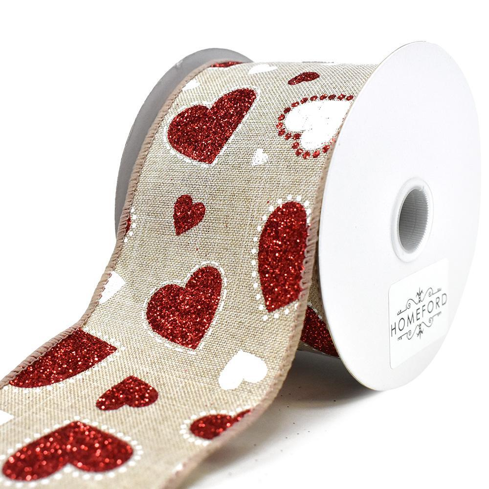 Valentines Darling Glitter Hearts Wired Ribbon, 2-1/2-Inch, 10-Yard