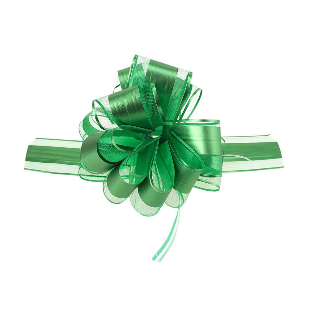 Snow Pull Bow Ribbon, Green, 14 Loops, 2-Inch, 2-Count