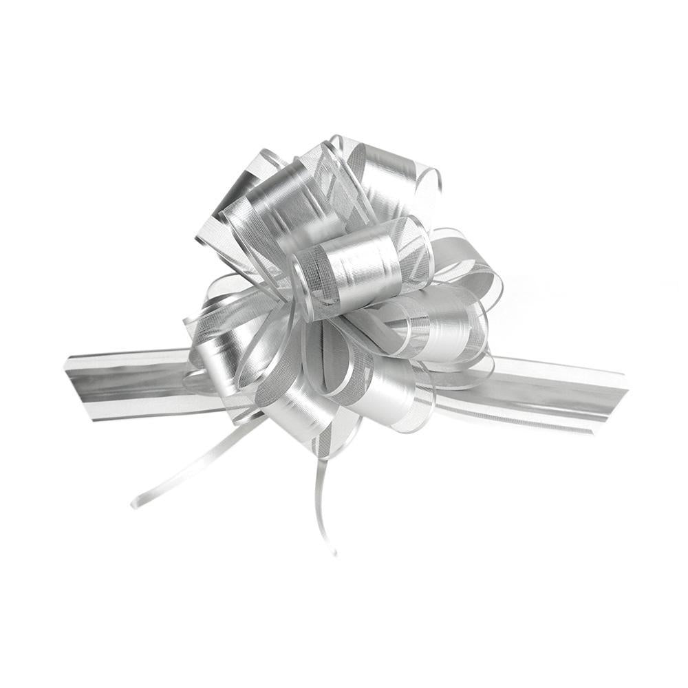 Snow Pull Bow Ribbon, Silver, 14 Loops, 2-Inch, 2-Count