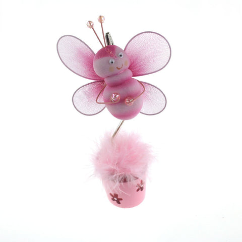 Bee Flower Pot Place Card Holder, 6-Inch, Pink - CLOSEOUT