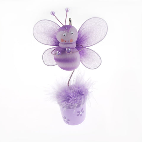 Bee Flower Pot Place Card Holder, 6-Inch, Lavender - CLOSEOUT