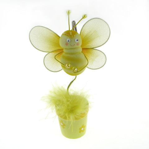 Bee Flower Pot Place Card Holder, 6-Inch, Yellow - CLOSEOUT