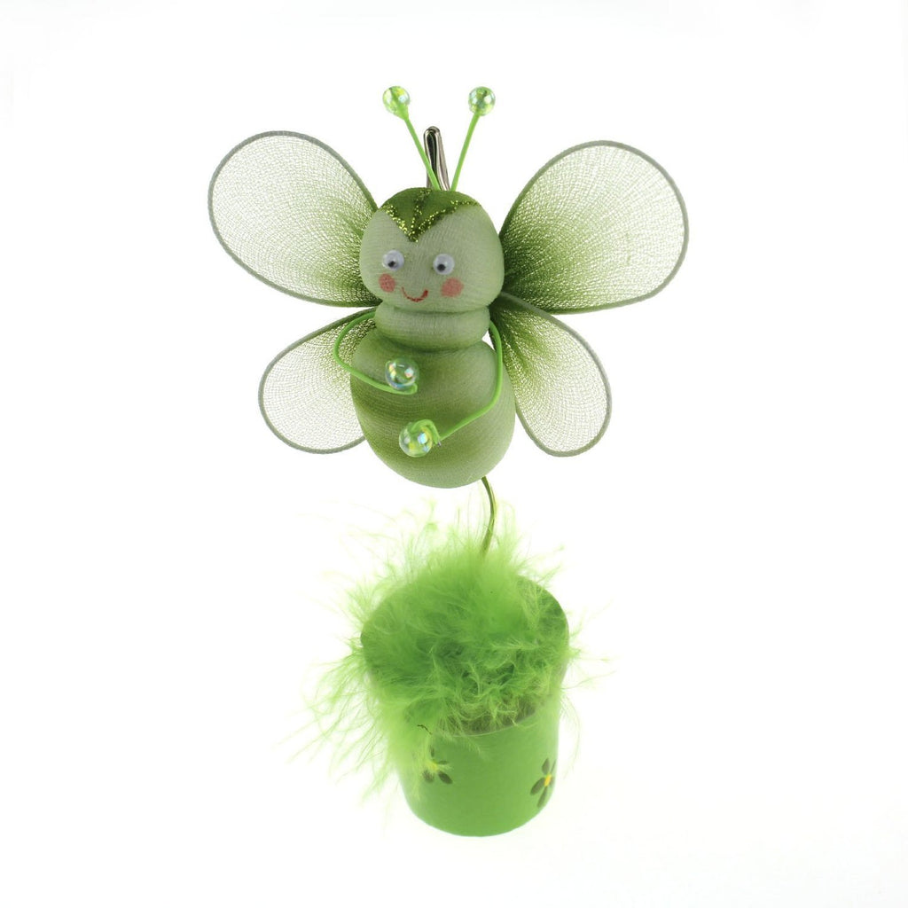 Bee Flower Pot Place Card Holder, 6-Inch, Apple Green - CLOSEOUT