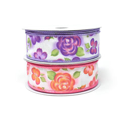 Botanical Flowers Wired Ribbon, 1-1/2-Inch, 10-Yard