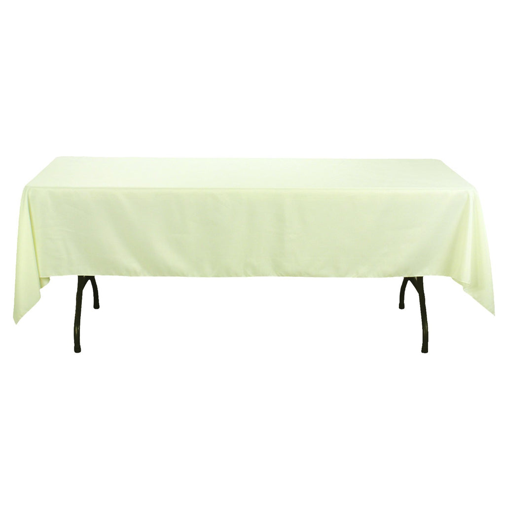 Rectangular Polyester Tablecloth, 60-Inch by 126-Inch, Ivory