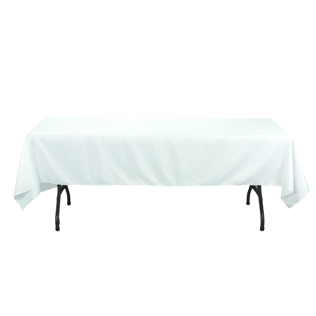 Rectangular Polyester Tablecloth, 60-Inch by 126-Inch, White