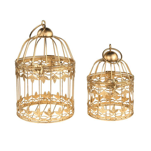 Gold Metal Wedding Bird Cage Centerpiece, Small, 2-Piece