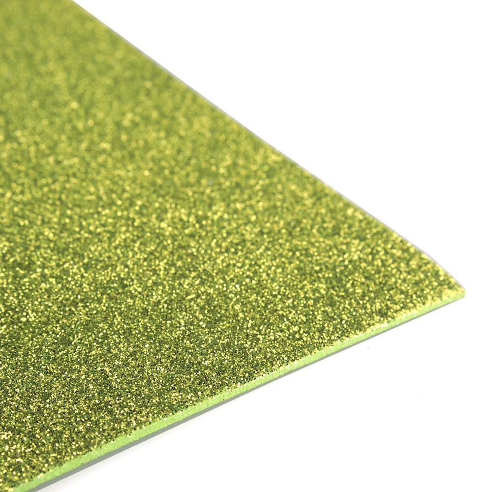 Glitter EVA Foam Sheet, 13-inch x 18-inch, 10-Piece, Apple Green