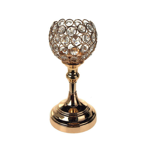 Crystal Globe Candle Holder Metal Centerpiece, Gold, 9-1/2-Inch